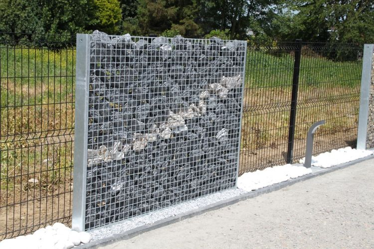 cloture gabion et bois free exemples de ralisations en gabion gabion wall gabionen tendance. Black Bedroom Furniture Sets. Home Design Ideas